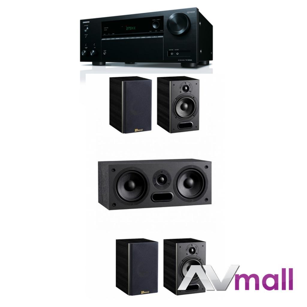 Pachet Receiver AV Onkyo TX-NR555 + Sistem de Boxe 5.0 Davis Acoustics Maya 2