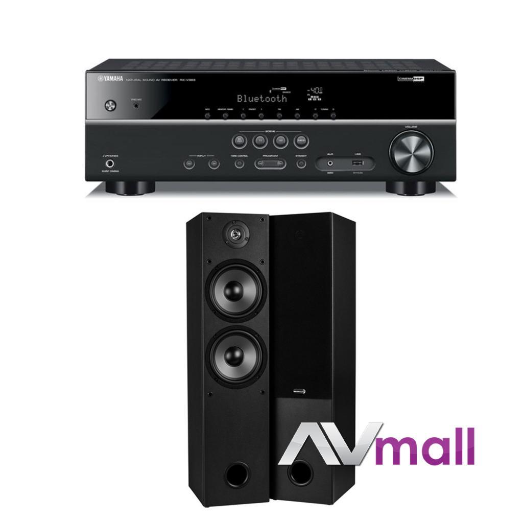 Pachet Receiver AV Yamaha RX-V383 + Boxe Dayton Audio T652 Dual