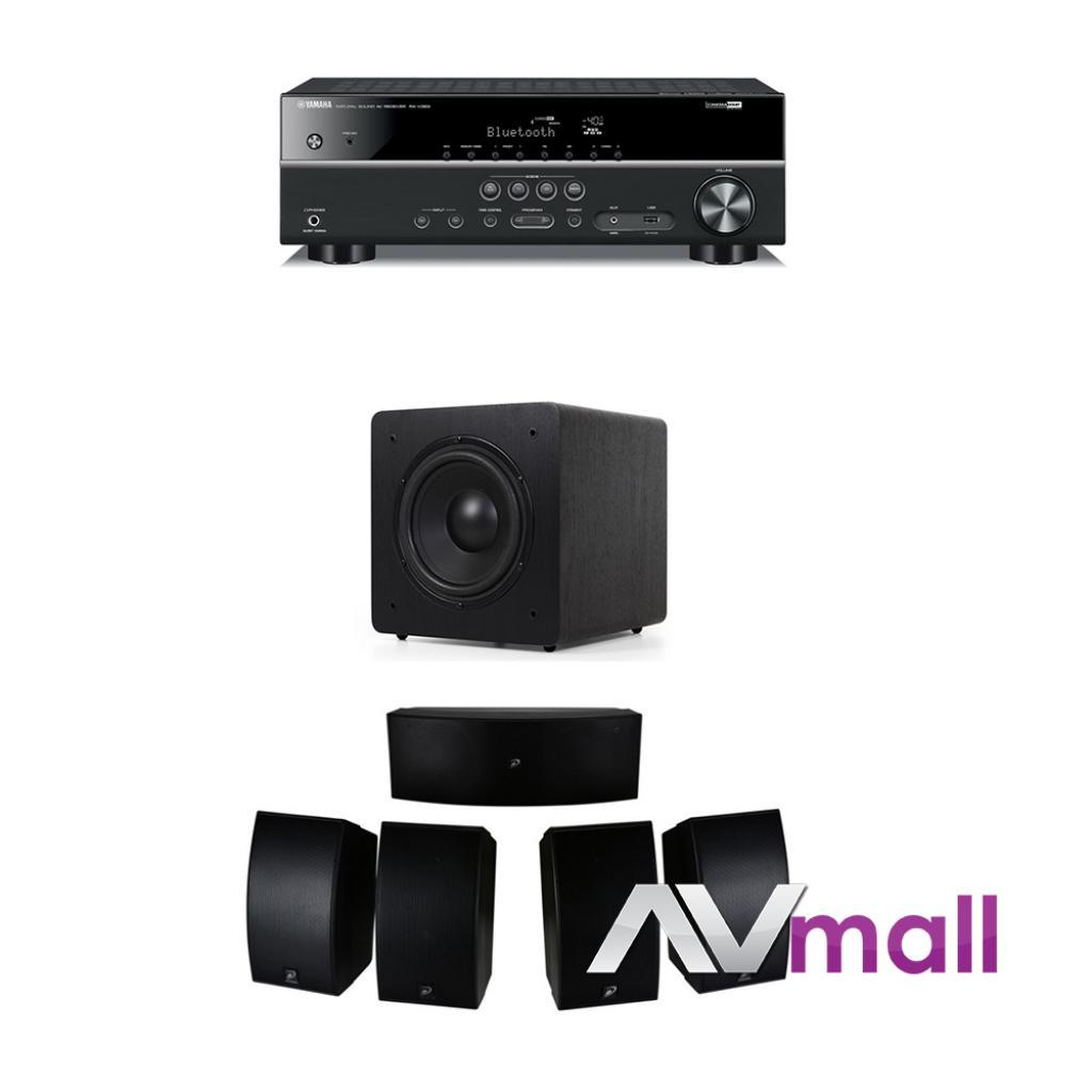Pachet Receiver AV Yamaha RX-V383 + Pachet Boxe Dayton Audio HTS-1200B + Subwoofer Dynavoice Magic S
