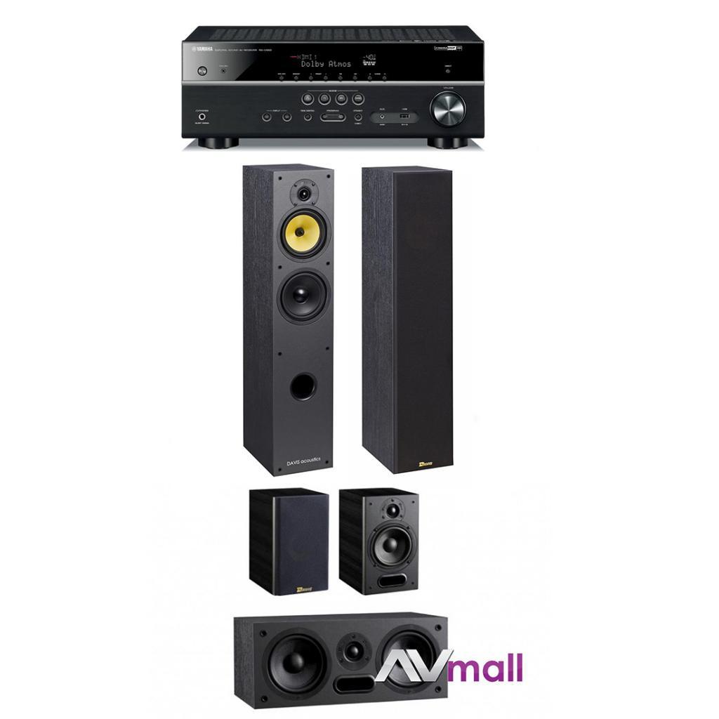 Pachet Receiver AV Yamaha MusicCast RX-V583 + Sistem de Boxe 5.0 Davis Acoustics Maya