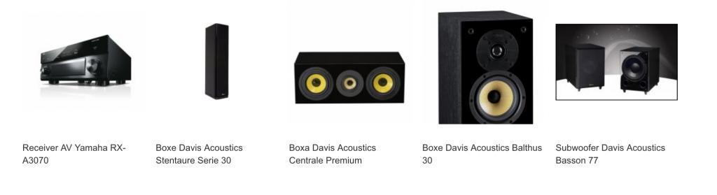Yamaha Pachet Receiver AV RX-A3070 + Boxe Davis Acoustics Stentaure Serie 30 + Boxa Davis Acoustics Centrale Premium + Boxe Davis Acoustics Balthus 30 + Subwoofer Davis Acoustics Basson 77