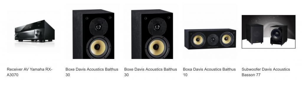 Yamaha Pachet Receiver AV RX-A3070 + Boxe Davis Acoustics Balthus 30 + Boxe Davis Acoustics Balthus 30 + Boxa Davis Acoustics Balthus 10 + Subwoofer Davis Acoustics Basson 77